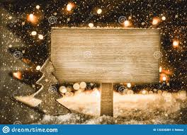 Wooden Christmas Sign With Lights Wooden Christmas Tree Snow Copy Space Snowflakes Sign