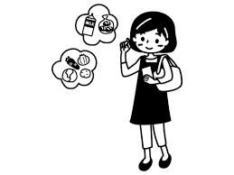 買い物を考える主婦の白黒イラスト かわいい無料の白黒イラスト モノぽっと