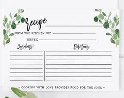 printable blank recipe cards recipe card template etsy