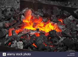 Dark And Light Forging Embers Glow In A Iron Forge In The Darkness Fire Heat