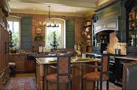 french country kitchem design with brick wall and black kitchen cabinet also vintage black chandelier