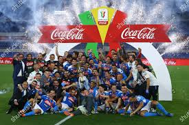 Napoli players celebrate Olympic stadium Italian Cup Redactionele stockfoto  - Stockafbeelding