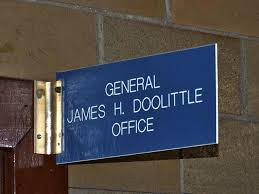 photo of general doolittle s office nameplate in crowder hall