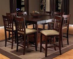 dining room pub style sets: casual dining room design with dark espresso pub style dinette tables set  piece brighton chairs with beige cushions and square motif ivory dark grey