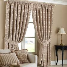... Wonderful Decoration For Interior With Tie Up Curtain Pattern Design  Ideas : Simple And Neat Beige ...