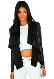mallorie leather waterfall jacket black