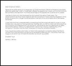 Cio Cover Letter Corporate Officer Resignation Letter Example Letter