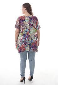Zerdocean Size Chart Zerdocean Women Plus Size Printed Short Sleeves Tunic Tops