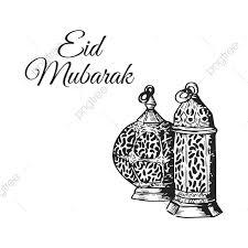 Vintage Hand Drawing Eid Mubarak Card Illustration Ramadan Islam