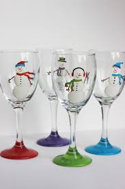 Snowmen Wine Glasses / Set of 4: Red, Purple, Green and Blue Scarves