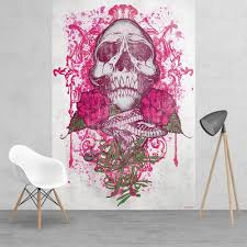 Miami Ink Tattoo Skull Pink and White Feature Wall Wallpaper Mural | 158cm  x 232cm