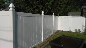 Vinyl solid picket fence Scallop Vinylsolid Privacy W Gothic Post Capswhitejune17 Liberty Fence Railing Vinyl The Fence Company Llc