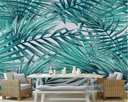 Beibehang 3d Behang Groene Abstracte Bladeren Mediterrane Weegbree