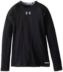 under armour shirts for boys. under armour boys\u0027 heatgear long sleeve fitted shirt, black/steel, youth shirts for boys b