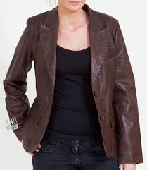 women s 2 on brown leather blazer athena main