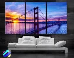 large 30 x 60 3 panels art canvas print beautiful golden gate bridge san francisco california sunset wall home included framed 1 5 depth  on sunset wall art canvas with xlarge 30x 70 5panels art canvas print beautiful