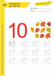Chủ đề 28: Trò chơi tập tô số thứ tự từ 1 đến 10 - Dạy trẻ tại nhà Sweet  Book - Bài tập mầm non