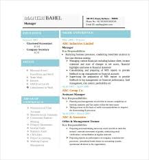Latest Chartered Accountant Resume Word Format Fre New Picture