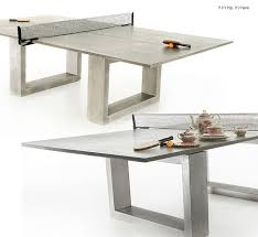 modern concrete steel ping pong table doubles as indoor outdoor dining table if it s hip it s here