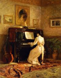 girl at the piano aka the piano theodore clement steele american oil on canvas steele s munich paintings sported dark drab colors and high contrasts