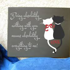 16 x 20 hand painted art canvas cat silhouettes love doing nothing with you means everything