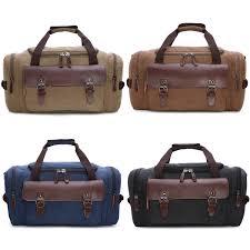 details about men s large canvas leather duffle bag shoulder travel luggage handbag gym tote