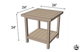 diy simple square bedside table plans dimension