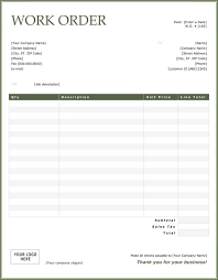 service work orders template work order sample