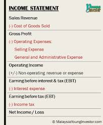 operating statement format income statement malaysia young investor