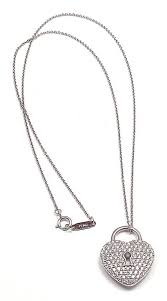 stunning platinum diamond heart lock pendant necklace by tiffany co with 120 round brilliant
