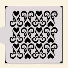 Heart Scrolls Heart Scroll Stencil