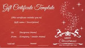 Holiday Gift Certificate Christmas Gift Certificate Template Holiday Gift Certificates Dotxes