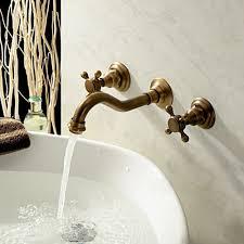 Chester Classic Wall Mount 2-Handle <b>Antique Brass Bathroom Sink</b> ...