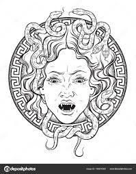 голова медузы горгоны на щите рука нарисованные линии искусства и