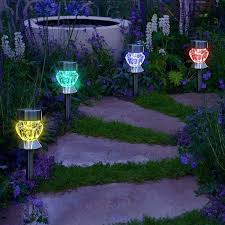 garden led lights. Solar Powered Led Garden Lights Path Outdoor Diamond Shaped Sparkling Color Changing Pathway Walkway
