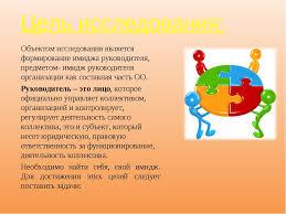Формирование имиджа современного руководителя образовательной  слайда 3 Цель исследования Объектом исследования является формирование имиджа руковод