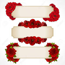 Red Wedding Card Design Vector Set Of Banners With Red Flowers Greeting Card Valentines