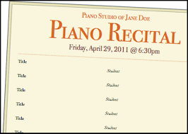 A Basic Piano Recital Program Template For Free Music