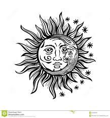 Folklore De Vecteur De Vintage De Visages Humains D Toile De Lune
