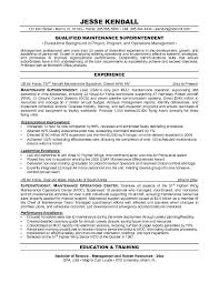 free maintenance superintendent resume example superintendent cover letter