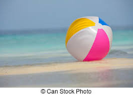beach ball in ocean. Ball On The Beach - Colorful With A White. In Ocean