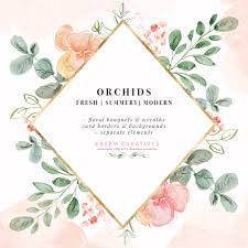 Watercolor Orchids Illustration Graphics Clip Art For Tropical Wedding Invitation Designs