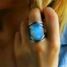 Unique Geometric Blue Green Stone Rings For Men Women <b>Oval</b> ...