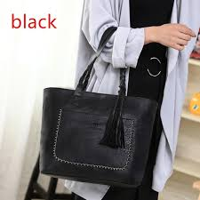 large capacity casual shoulder bags for women 2018 fall leather fringe purses handbags