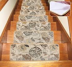 soloom carpet stair treads indoor set of 13 blended jacquard skid resistant stair tread rugs non slip rubber backing 26 x10 beige