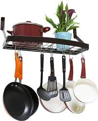 decobros wall mount square grid pot pan rack includes 8 hooks 25 by 12