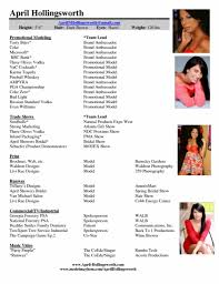 Most Interesting Model Resume Template 4 Sample Acting Mod Sevte