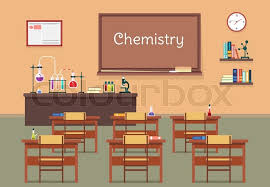 classroom table vector. vector flat illustration of chemistry lassroom at the school, university, institute, college. desks with books rulers, flasks, bottles, beaker, classroom table