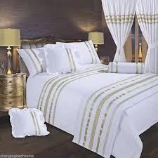 white gold trim hollywood glamour king size 200 tc egyptian cotton duvet set