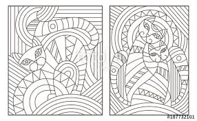 set of outline ilrations in the style of stained glass with abstract cats
